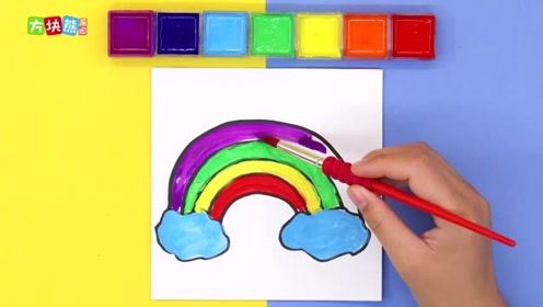 《方块熊乐园》简笔画彩虹