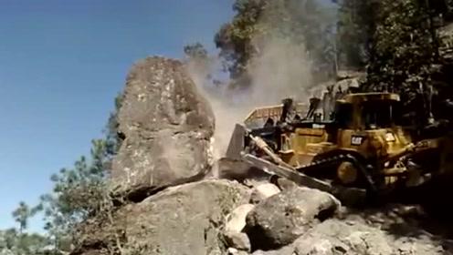 山顶推下一个巨型石头,看看有多厉害