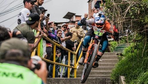 正在举行的山地车城市速降赛!来自南美哥伦比亚的疯狂!