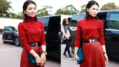 刘涛穿着看似普通但气质优雅大气! 大红色系套装干练又时尚