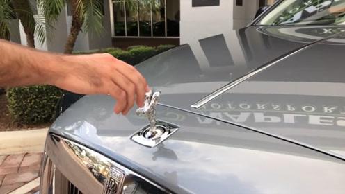 劳斯莱斯的车标安全性有多高?车主:你动一下试试!