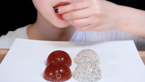 美食之双色蛙卵 吃播大胃王:吃起来让人清爽可口!