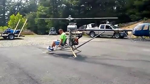 高手在民间!国外牛人自己做的直升飞机