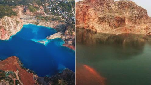 神奇矿坑两年水体突然变成蓝色,犹如蓝宝石,参观者络绎不绝