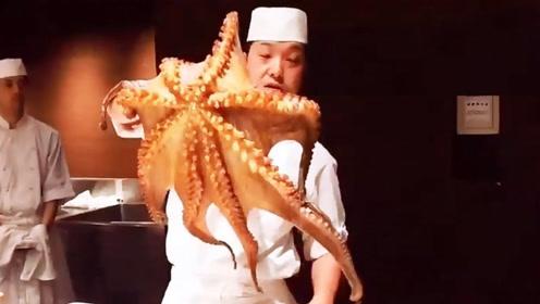 鲜活的章鱼拿出来还张牙舞爪,不到2分钟直接被活吃,日本人这吃法真残忍
