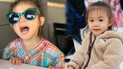 陈冠希2岁女儿穿彩色衬衫绿色墨镜 简直是行走的潮流
