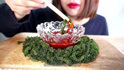 外国女子直播吃海葡萄,发出脆脆的咀嚼声,看着都饿