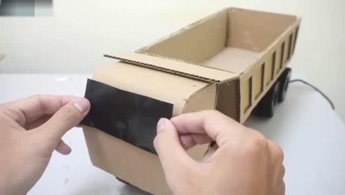 创意手工diy,硬纸板手工diy制作载货大卡车模型
