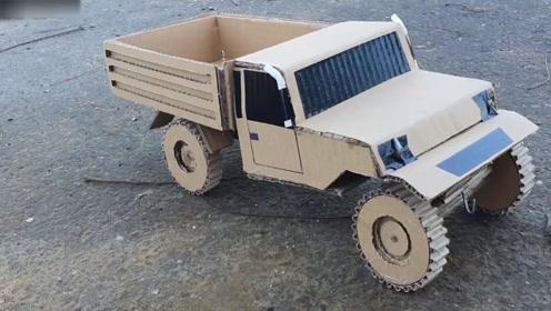 创意手工diy,硬纸板手工diy制作大卡车电动玩具模型
