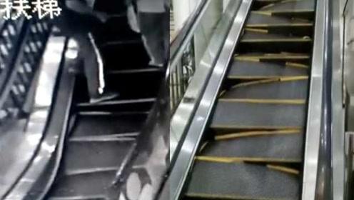 夺命电梯!商场扶梯突然断裂变形,2市民飞奔逃走