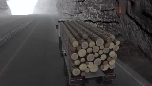 汽车事故模拟,装木材的大卡车撞上小汽车!冒火了