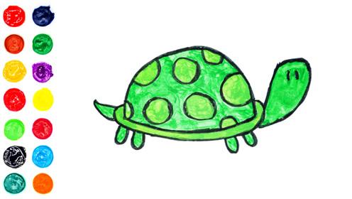 乌龟的画法和填色,解压上色