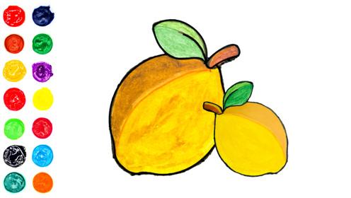 柠檬的画法和填色,解压填色