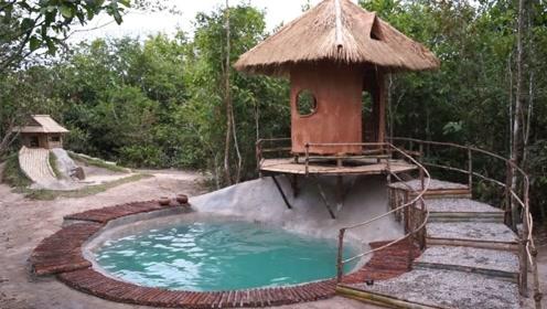 荒野求生:农村小哥深山里修建出豪华游泳池,这生活太会享受了
