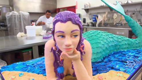 大师出手就是不同凡响,美人鱼蛋糕做成了艺术品,怎么舍得吃