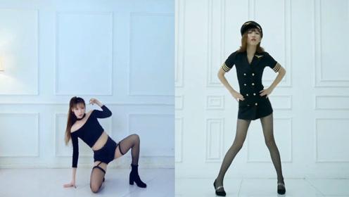 两位小姐姐黑丝高跟翻跳韩国舞曲,气场不输女子组合