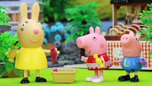 小猪佩奇和乔治帮兔小姐照看糖果店,他们卖光了所有糖果