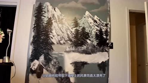 美女按照大神的教程,在墙上绘制相同的风景,网友:都是牛人呀!