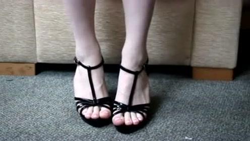 时尚美女穿搭展示,黑色绑带高跟鞋,美女气质超级好