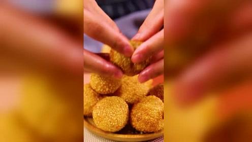 油堆美食小吃, 香酥大麻圆做法全解,请问你们学会了吗