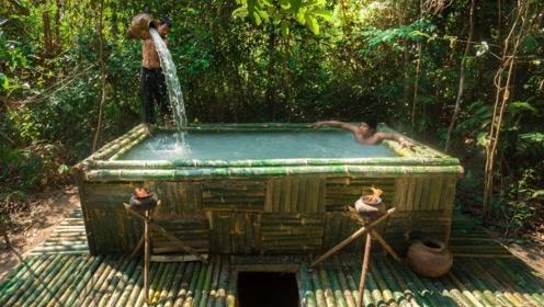 农村牛人用竹子制造豪宅,地上搭泳池地下挖别墅,走进去看看!