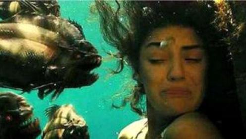 美女表演逃生魔术失败,瞬间就被食人鱼啃个精光,观众吓傻了