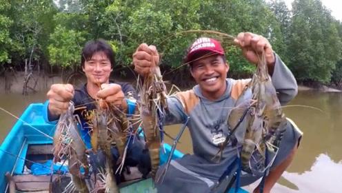 小伙野河钓鱼,今天这是走运了,钓到超级大虾!