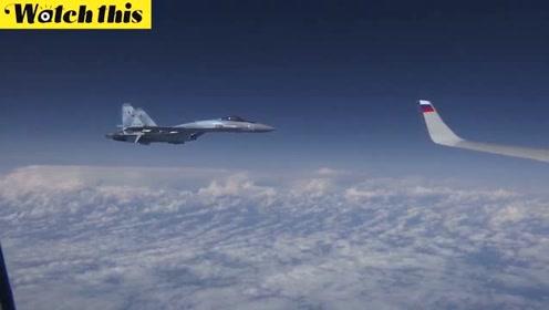 西班牙战机试图接近俄国防部长飞机 看Su-27如何一分钟拦截