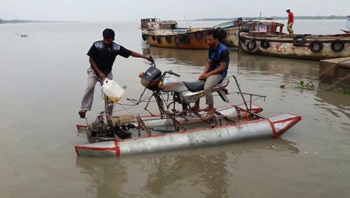 摩托车改装成摩托艇,简直就是水中神器