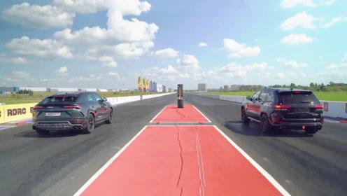 兰博基尼号称最快SUV,单挑大切诺基,三秒后连尾灯都看不见!
