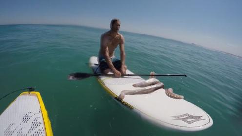 巨型鱿鱼想拉男子下水,结果反被拉上岸,这么大一只有口福了