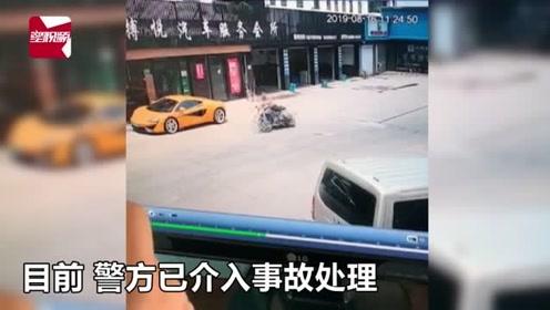 浙江一男子院内骑摩托车耍帅秀车技,失控猛撞上路边迈凯伦