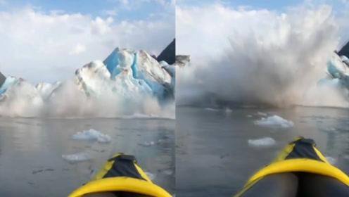 美一冰山突然断裂巨型冰块坠落 实拍:2人与巨大冰块擦肩而过