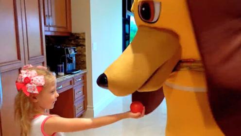 狗狗变得很大,小女孩一脸吃惊,爸爸也被吓得晕了过去!