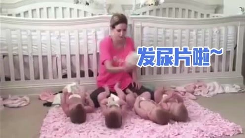 妈妈一大早起来要照顾四胞胎,接下来的画面,太不容易了
