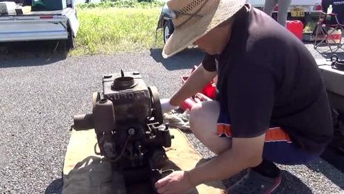 大叔珍藏1939年小型发动机,看看是如何启动的,太有趣了!