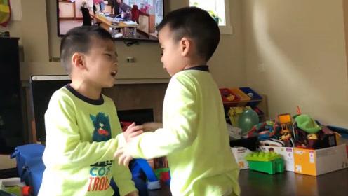 双胞胎哥俩,莫名的吵起来,又突然的和好了,果然翻脸比翻书还快