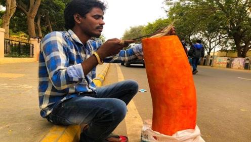 印度街头特殊的巨大美食,你能猜到它是什么吗?看完涨见识了