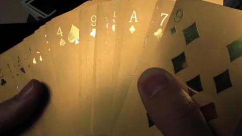 迪拜富豪收藏的黄金扑克牌,拿到灯光下一看,太炫酷了!