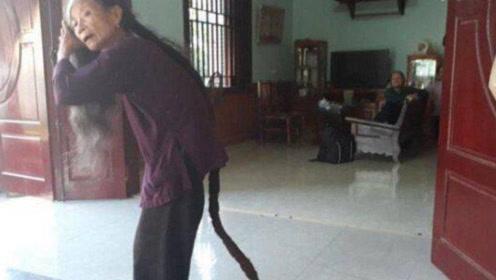 """84岁农村老奶奶,25年不剪头发,头发就像一根""""蛇"""""""