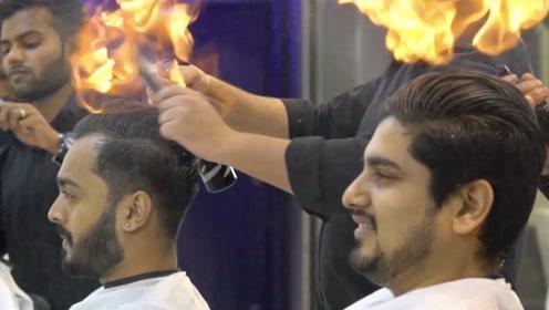 """印度理发师用""""火""""理发?顾客络绎不绝,网友:开挂了?"""