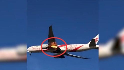 国航一波音客机起飞后引擎起火紧急返航 国航回应:疑遭鸟击