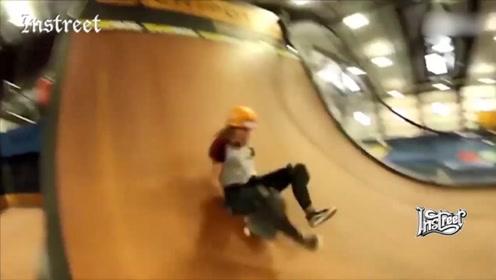 哈哈,滑板玩U池,瞬间变滑梯