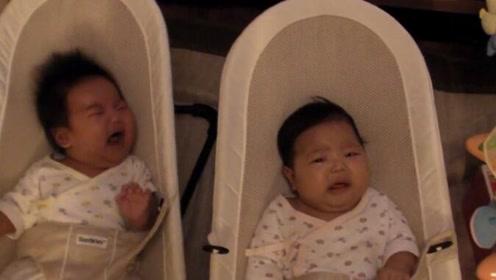 双胞胎婴儿一个哭了另一个也要哭,看完你还羡慕生双胞胎吗?