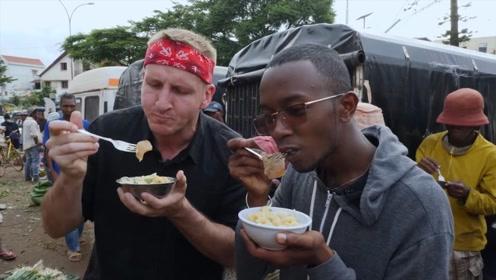 小哥游玩马达加斯加小吃街,只能吃点泡饭面条,太失望了
