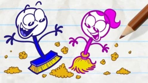 铅笔人不想打扫卫生,但是面对作者的威胁,只好乖乖就范!
