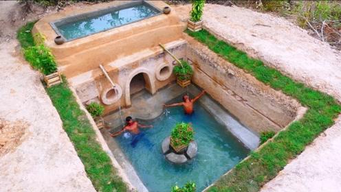 农民打造地下世外桃源,双层泳池还自带秘密别墅,住的太过瘾了!