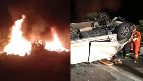 惨烈!广西包茂高速凌晨2车追尾起火致1死9伤,1车被烧成残骸