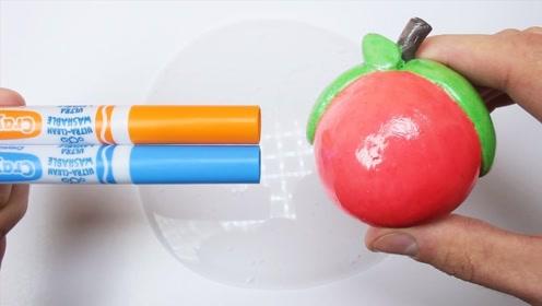 DIY自制声控球水果,搭配彩笔和水晶泥,自制无硼砂史莱姆