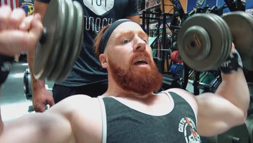 健身房里的肌肉猛男,两人为了打磨三角肌,练习哑铃推举和侧平举